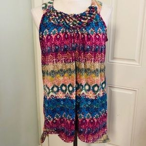 Rainbow woven braided neckline tank top